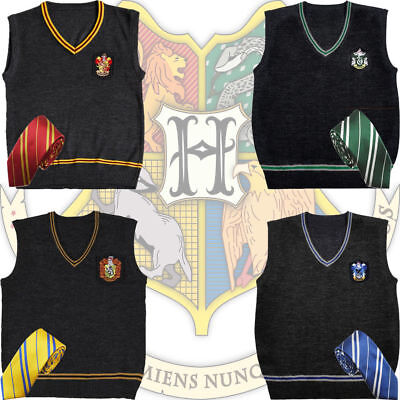 Harry Potter Costume Adult V-Neck Sweater Vest & Tie Cosplay Outfit Xmas Gift