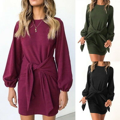 Fashion Womens Puff Sleeve T-Shirt Dress Lady Casual Loose Waist Belt Mini Dress