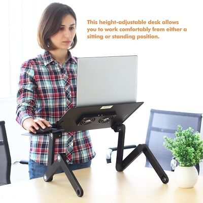 Adjustable Laptop Desk Foldable Table e-Table Bed with 2 USB Cooling Fans Stand