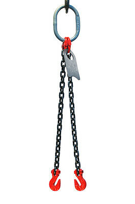 "9/32"" 5 Foot Grade 80 DOG Double Leg Lifting Chain Sling - Oblong Grab Hook"