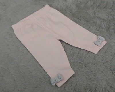 Baby Girls Cotton Striped Leggings Bottoms Ankle Bows (3.4kg / 7.5lb / New Baby)