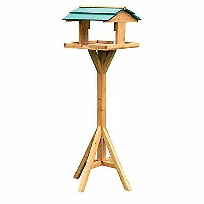 BNIB Kingfisher BF009 Traditional Wooden Bird Feed Table with Green Roof