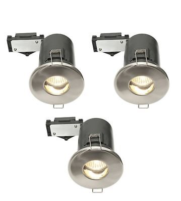 BNIB - DIALL 3-pack Fire Rated Brushed Chrome Fixed Downlight 28W 11W GU10 IP20