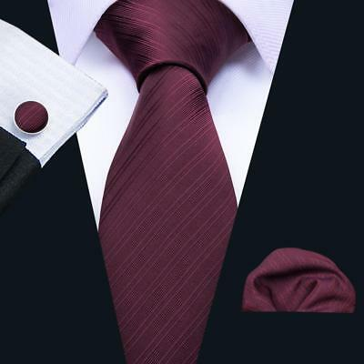 UK Silk Solid Mens Ties Necktie Wine Red Burgundy Handkerchief Tie Set Wedding