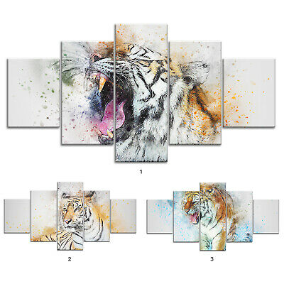 Abstract Tiger Animal Canvas Print Painting Framed Home Decor Wall Art Poster