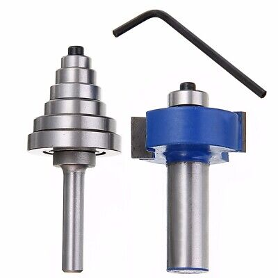 1/2'' Shank 2 Flutes Rabbet Router Bit 6 Bearing Carbide Tip Ball Woodwork Tool