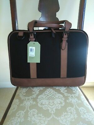 Stunning Black Briefcase With Contrasting Brown Leather RRP £129