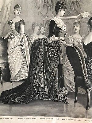 MODE ILLUSTREE SEWING PATTERN Jan 10,1886 - BALL GOWNS, CORSET, MASQUERADE