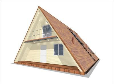 A-Frame Cabin Plans 10 m x 10 m Two Story A Frame Cabin Vacation Tiny House DIY