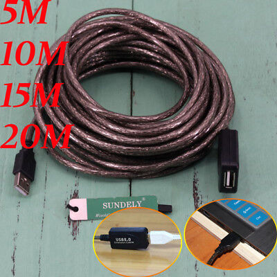 NEW 5m/10m/15m/20m USB 2.0 Active Repeater Cable Signal Booster Extension Cord