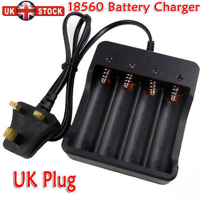 18650 Li-ion Battery Charger Rechargeable 4 Slots for 4x 3.7v Batteries UK Plug