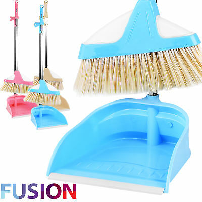 Dustpan And Brush Set Long Handle Broom Sweeper Clip Handle Cleaning Disposal