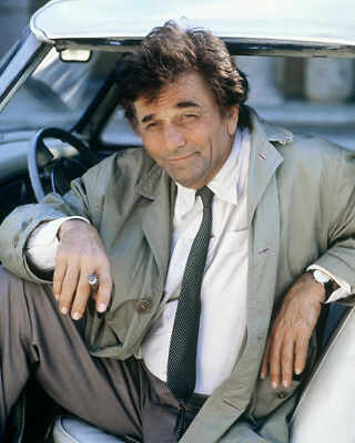 Columbo Peter Falk iconic with cigar in classic Vintage car 8X10 Photo