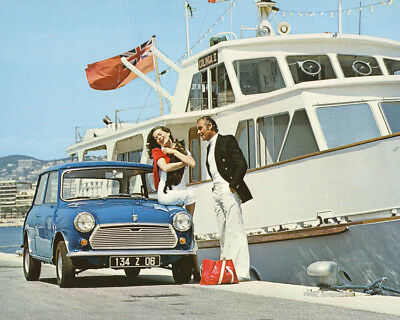 Austin Mini Classic Vintage Blue 1000 by Yacht French Riviera 8X10 Photo
