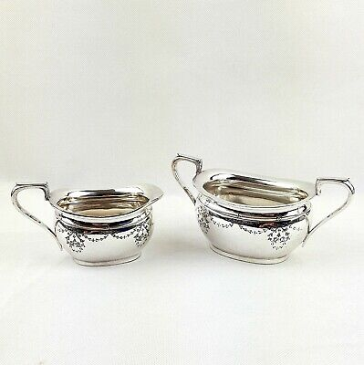 Atkin Brothers Silver Plated Sugar Bowl and Cream Jug Hand Chased 1883-1891