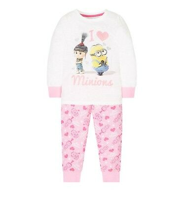 BNWT MOTHERCARE PINK 'I Love MINIONS' GIRLS Pyjamas AGE 3-4 Yrs