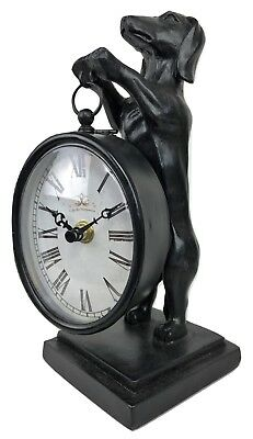 Decorator Dachshund Dog Animalier French Faux Bronze Statue Desk Clock Figurine