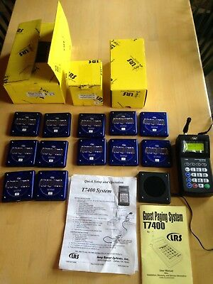 LRS T7400 Guest Paging System, 12 Cool Blue Coaster Pagers, Charger, Parts