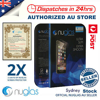2x Genuine NUGLAS Tempered Glass Screen Protector for Apple iPhone X 8 7 5 6 6s