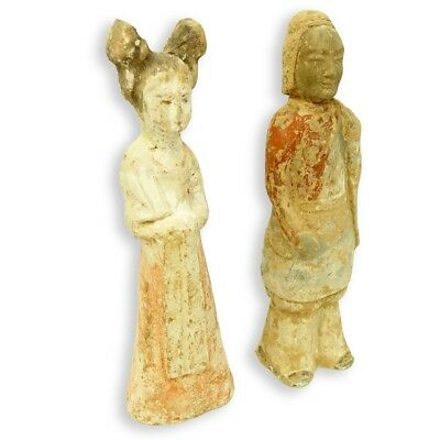 Two Chinese Tang (618-906 AD) & Qi (550-577 AD) Dynasty Painted Pottery Figures