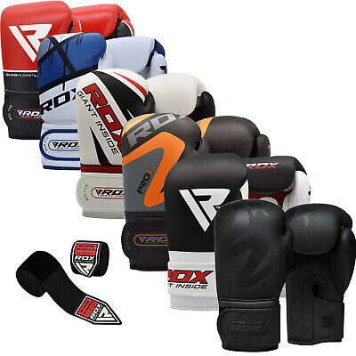 RDX Leather Boxing Gloves Fighting Training MMA Kickboxing Punch Bag Muay thai C