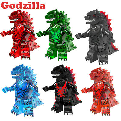 Black Godzilla Horror Movie Lego Minifigures Sci-fi Monster Rare Green Dino Man