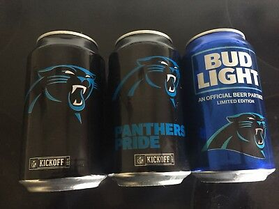 Bud Light Cans. Carolina Panthers 2016,2017,2018 Limited Edition Nfl Kickoff