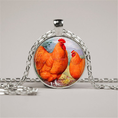 Chicken Vintage Poultry, Arts Glass Cabochon Tibet silver Pendant Chain Necklace