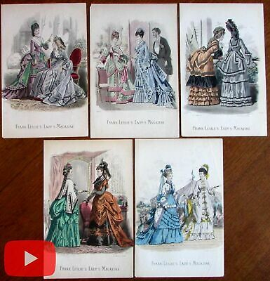Fans in 19th century Women's Fashion illustration c. 1870 lot x 5 hand color
