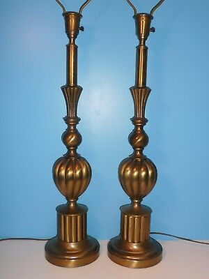 PAIR of Mid-Century REMBRANDT Brass Orb Table Lamps Vintage Hollywood Regency