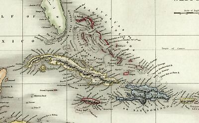 West Indies Caribbean c.1836 Dower beautiful map hand colored