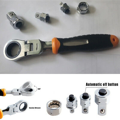 Mini Stainless Steel Ratchet Wrench 180° Rotation Head Spanner Repair Tool Kit
