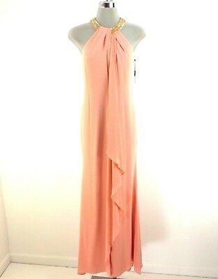 150af9a9910 Calvin Klein New WT Red Carpet ready PEACH Color Formal Dress Beaded neck  size 2