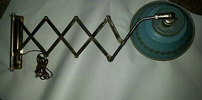 Vintage Blue & Gold Tole Metal Accordion Swing Arm Scissor Wall Reading Lamp