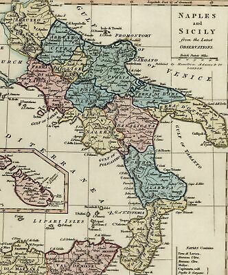 Italy Naples Sicily Malta Goza inset c.1831 Wilkinson lovely old map