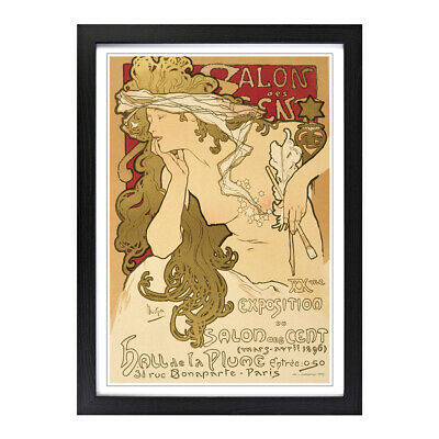 Framed Picture Print A2 Alphonse Mucha Salon des Cent Painting Wall Art Vertical