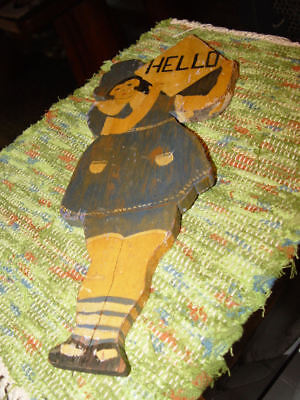 Rare Wooden Folk Art 1930s Welcome to the Cabin Lake House 'HELLO' Greeting Sign