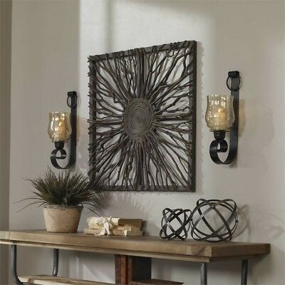 Tuscan Scroll Forged Bronze Metal  Amber Glass Candle Wall Sconce S/2 Old World