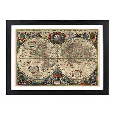 Framed Picture Print A2 Henricus Hondius II - Vintage World Map 2 Wall Art