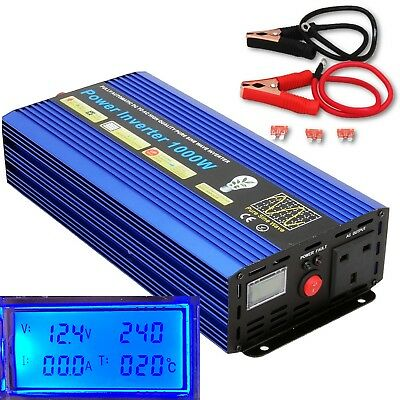 2000W (Surge) 1000W DC12V-AC240V PURE SINE WAVE POWER INVERTER LCD DISPLAY