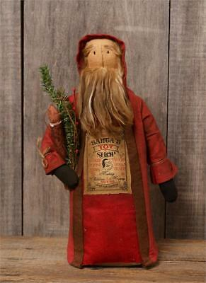 New Primitive Country Folk Art OLD FASHIONED SANTA DOLL WITH CANDLE Light 16""