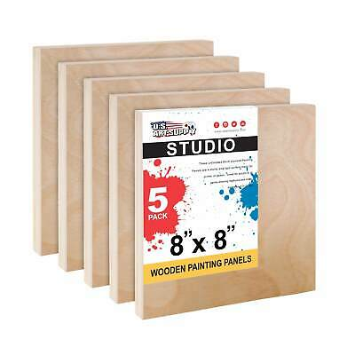 "8"" x 8"" Studio 3/4"" Profile Depth Artist Wood Pouring Panel Boards Pack of 5"