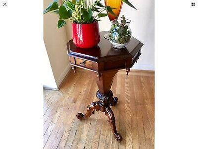 MID VICTORIAN Style Mahogany TRUMPET SEWING TABLE Hand Made By Archer And Smith