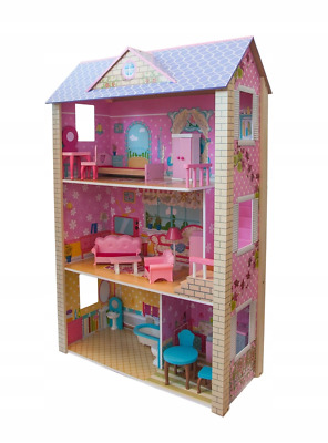 XXL WOODEN DOLL HOUSE WITH FURNITURE 118cm dollhouse DOLLS HOUSE barbie NEW