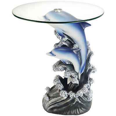 Unique Furniture Round Glass Top Side End Table Dolphin Fish Tropical Sea Decor