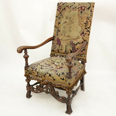 Renaissance Revival Carved Wood And Tapestry Tall Back Arm Chair