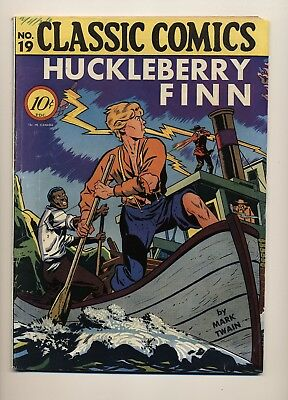 Classic Comics #19 Vg+ Original Huckleberry Finn 1B Island Publishing 1944