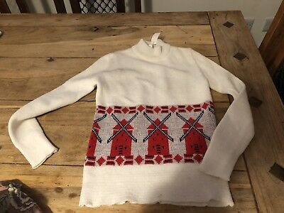 Vintage 60's WhIte Windmill Children's Unisex Jumper Age 7 deadstock Never Worn