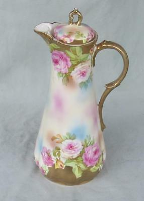 Antique Vintage Royal Vienna Chocolate Pot Hand Painted  Roses & Gold