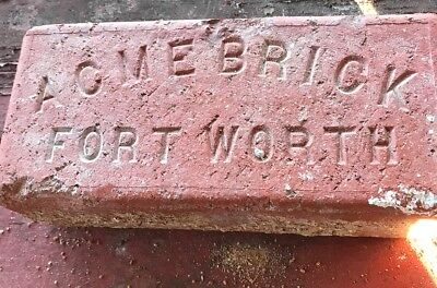 Antique Acme Brick Fort Worth Texas Sidewalk Street Brick Paver Builder Block